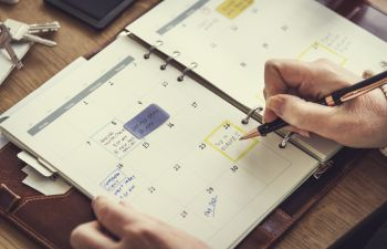 Jotting down appointments in a calendar