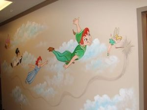 Peter Pan's drawing on the wall in the dentist's waiting room